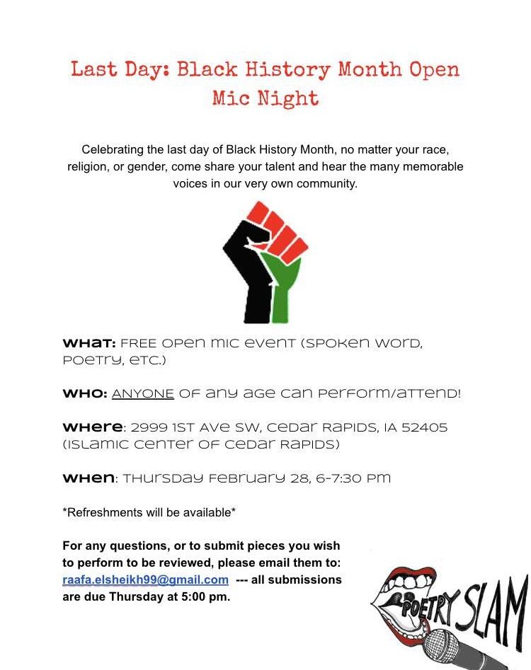 Poster for Black History open mic night.