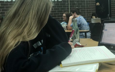 Sophomore Kallie Kolthoff, studying for AP Psychology.
