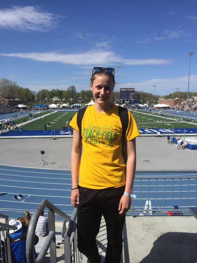 Exchange student Kajsa Gerkens after her races at the Drake meet.