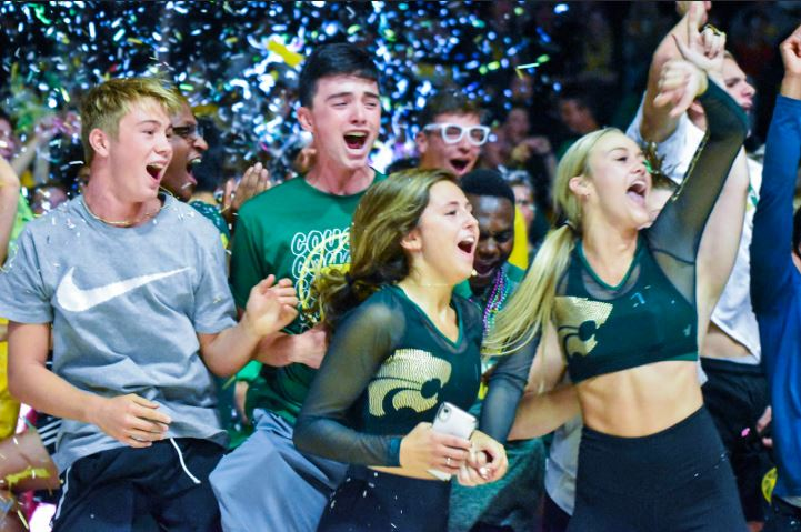 Seniors showing their cougar spirit at the fall pep assembly by cheering on their class. Photo by Haylee Brewer.