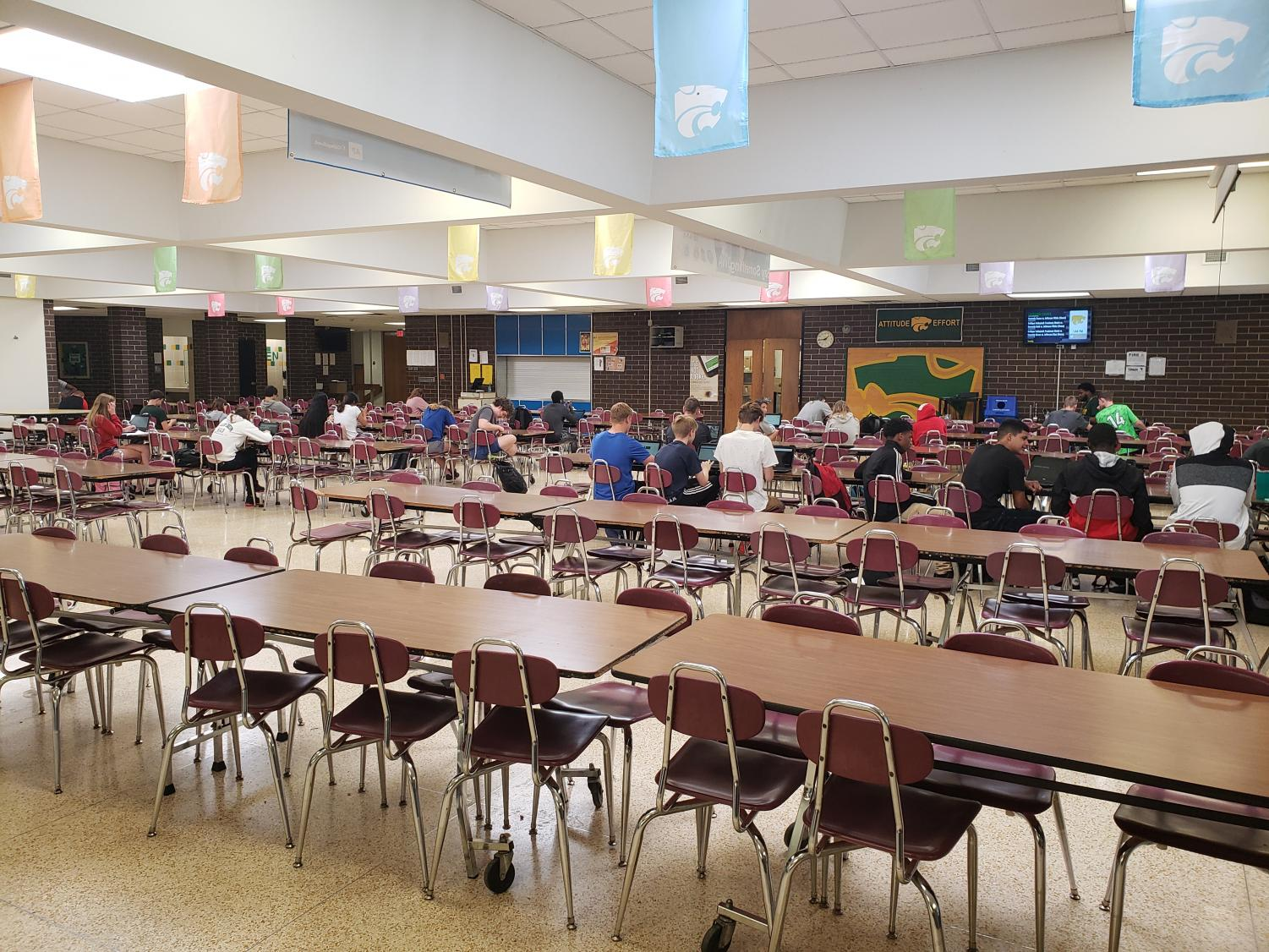 Students complete extra work in study hall.