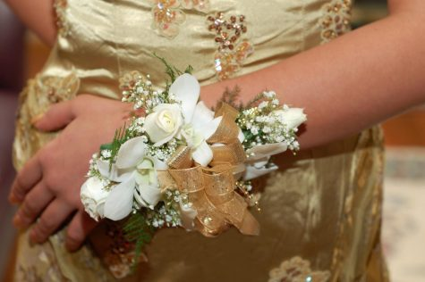 A beautiful gold dress paired with a matching corsage, yet another stressor adding to the pressure of homecoming.