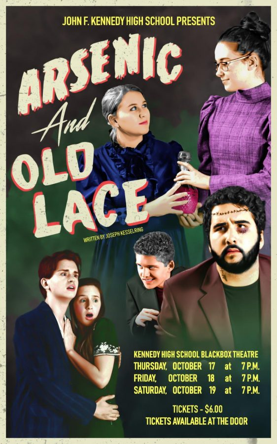The+poster+for+Arsenic+and+Old+Lace+posted+in+several+spots+throughout+the+school.