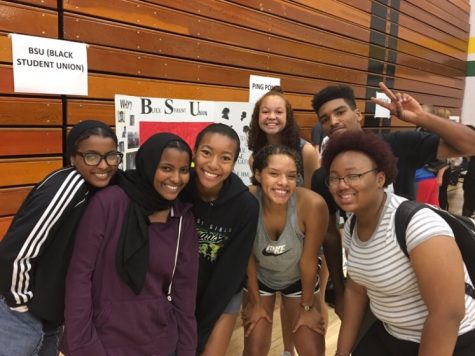 The BSU recruiting new members at the club fair. Left to right: Rahma Elsheikh, Raafa Elsheikh, Victoria Lea, Kaylah Ajram-Wright, Sophia Malcom, Divion Ocheltree , Angel Lesure
