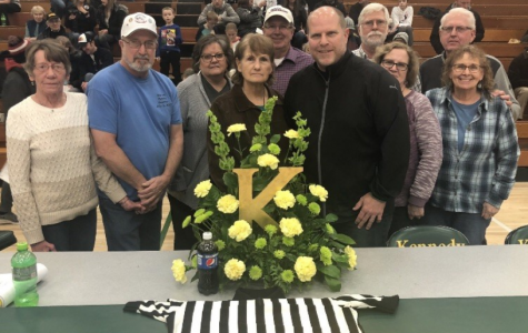 A memorial made for Jeni Newland at a Kennedy Basketball game