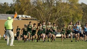 The Boys Varsity Cross Country team at the start line on Oct. 8 at Seminole Valley.