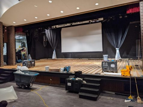 The Kennedy High School Auditorium under renovations due to extensive damage from the storm.