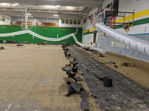 Kennedy High School facilities damaged by the Derecho Aug. 10. The gymnasium was hit especially hard.