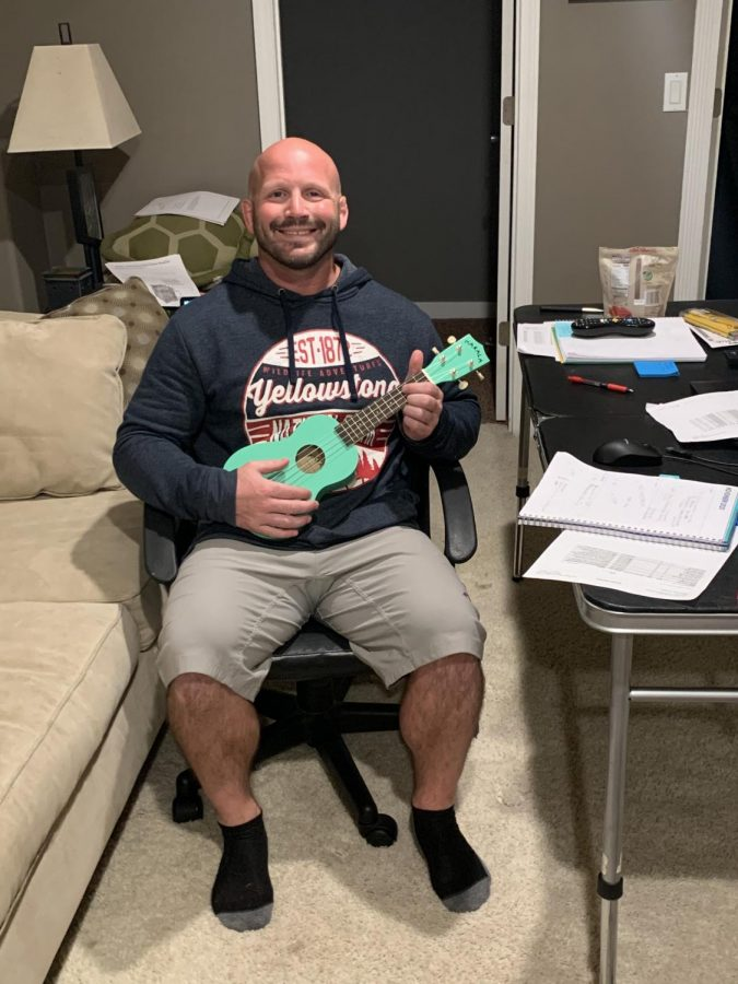 Kennedy High School teacher, Craig Malicoat, displaying his new musical skills.