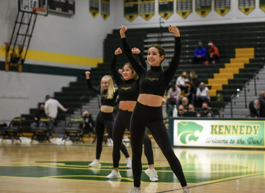 The Kennedy Dance Team performs during the Girl's and Boy's Basketball halftimes.