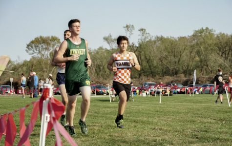 Lucas Dolphin, a sophomore at Kennedy runs during his cross country meet.