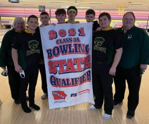 From left to right: Coach Diane Bader, Jaxon Robinson, so., Cayden Foye, fr., Carson Musil, jr., Dakota Harris, jr., Lucas Dolphin, so., Alex Hume, so. and Coach Scott Bader. Coach Dick Bader is not pictured.