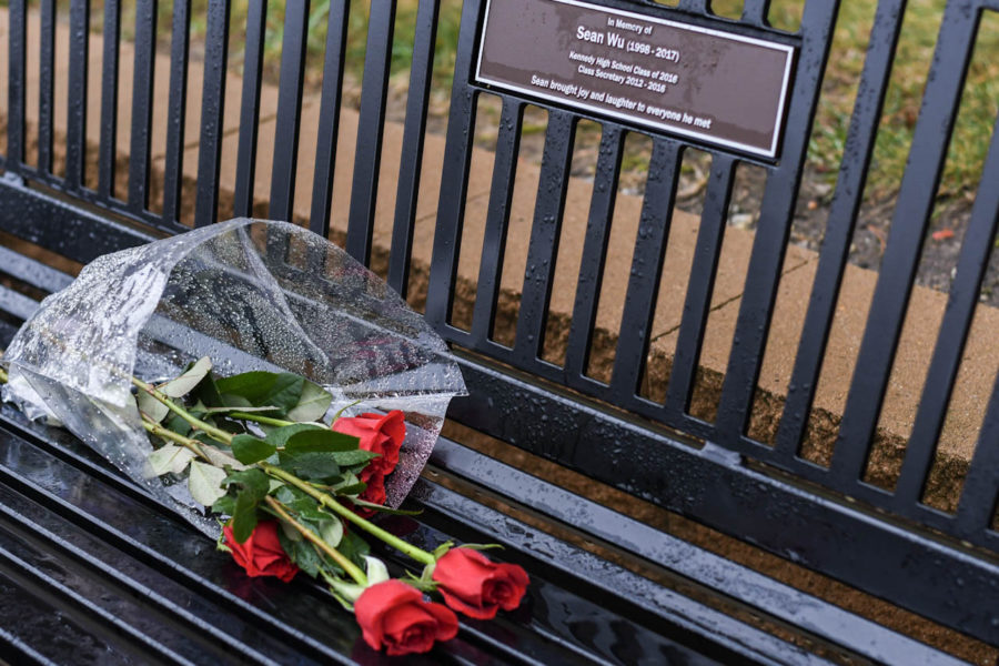 Kennedy Alumni Sean Wus memorial bench faced disrespect as vandals uprooted the surrounding plants.