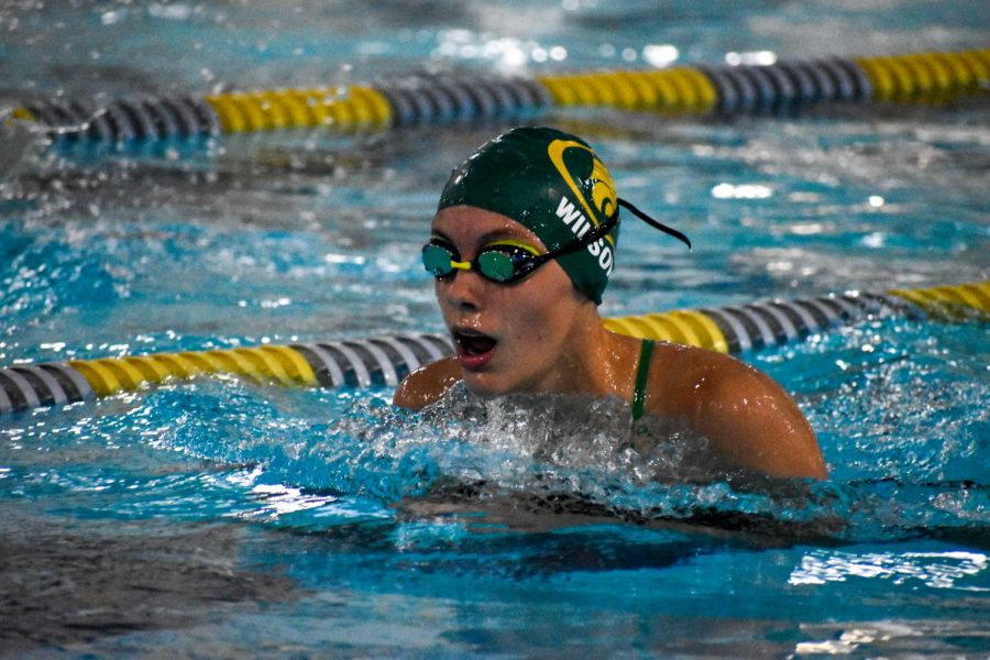 Junior Avery Wilson, leading her heat in the 200 Yard Individual Medley.