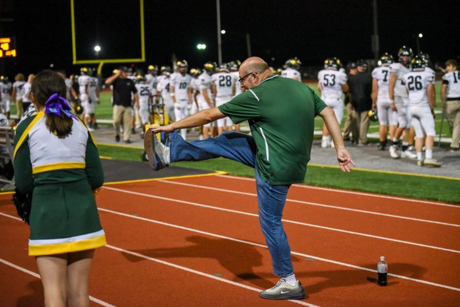 Principal Jason Kline does one kick per point scored, which summed up to 48 kicked.