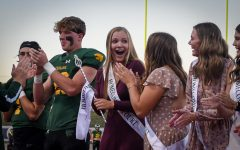 Senior Megan Feldmann smiles after being crowned homecoming royalty.