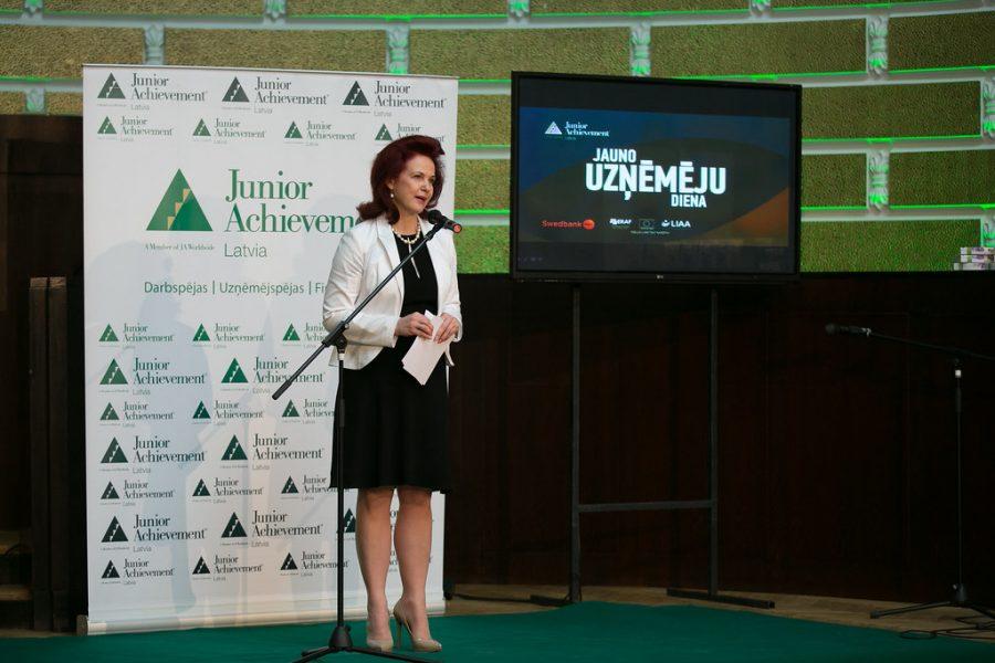 A Junior Achievement speaker opens the day.